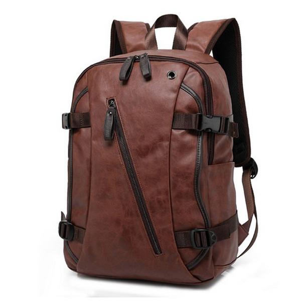 Vintage Pu Leather Backpacks For Men College Bags School Travel Backpack Daypacks Mochila Shoulder Bag Man Backpacks Laptop