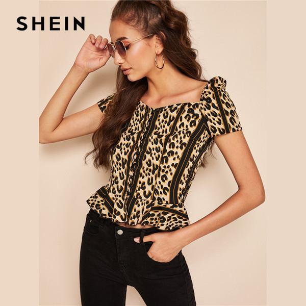 Multicolor Knopfleiste viereckigen Hals Rüschensaum Leopard Crop Bluse Frauen Sommer Hauchhülse Elegante High Street Blusen C19041001