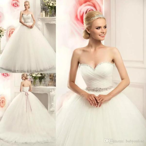 Ballkleid Brautkleider 2019 Schatz Perlen Kristalle mit Gürtel Lange geschwollene Braut Brautkleider