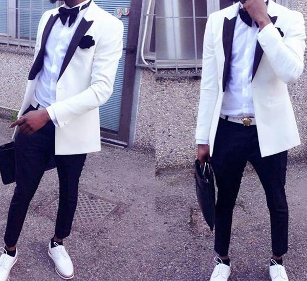 Hot Sale Ivory men suit with Black Pants wedding tuxedos Custom Made groom Formal Slim Fit prom suit 2pcs(jacket+pants)