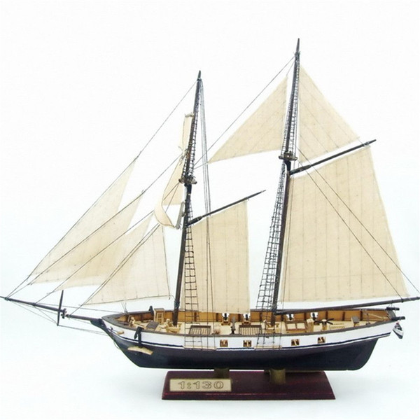 top popular 1:130 Scale Sailboat Model 380x130x270mm DIY Ship Assembly Model Kits Classical Handmade Wooden Sailing Boats Children Toys Gift Y200428 2021