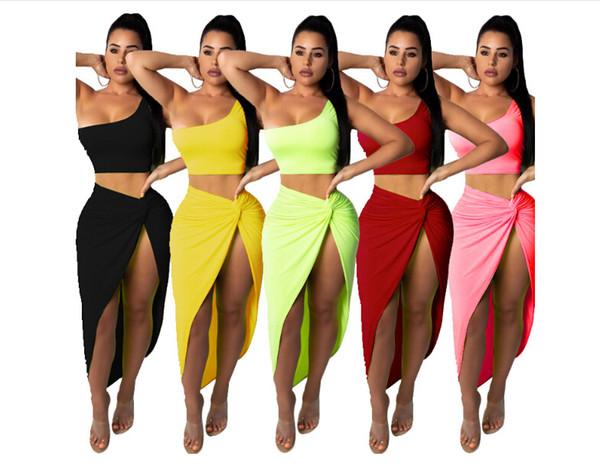 Summer Women Sexy 2 Vestito a due pezzi Vestito da donna Maniche lunghe Trasparente Crop Top + Gonne longuette a vita alta Autunno Outfit
