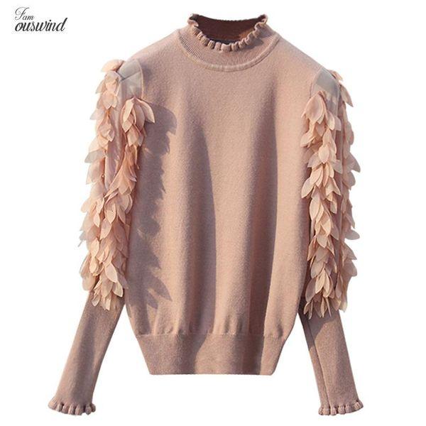 Воротник Ruffled Вязаные Женщины свитера весна осень Сыпучего с длинным рукавом цветы перемычка мода рукав свитер и пуловер Femme Вытащите