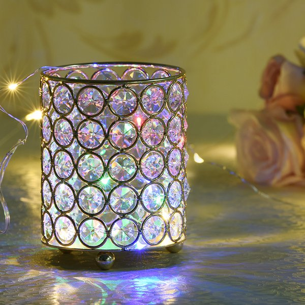 Cylinder Glass Tealight Candle Holders Metal Cup Crystal Stand Vases for Home Wedding Decoration Centerpieces