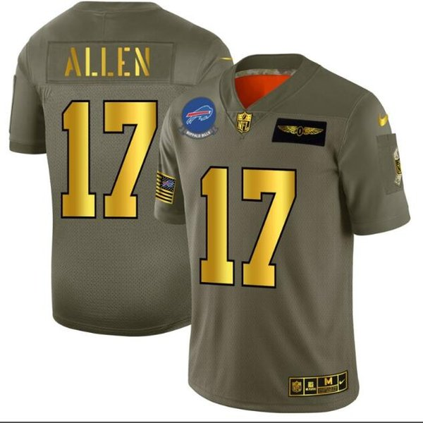BúfaloContas dos homens # 17 Josh Allen Olive / Ouro 2019 Salute to Service Limited Jersey