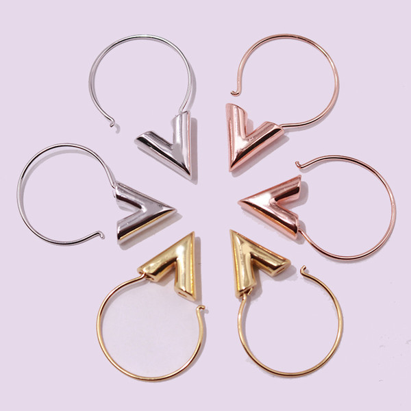 top popular 2017 Fashion Brand Lady Stainless Steel Fashion titanium steel gold jewelry V-shaped smooth titanium steel earrings earrings 2021