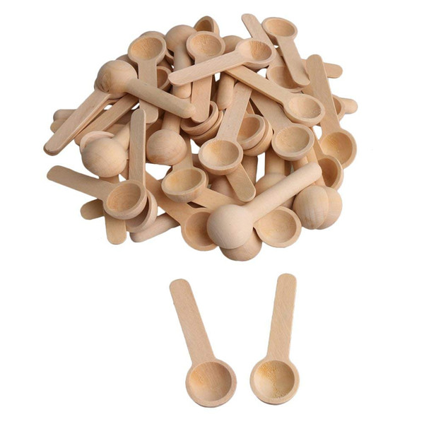 best selling 100Pcs lot Mini Nature Wooden Home Kitchen Cooking Spoons Tool Scooper Salt Seasoning Honey Coffee Spoons free shiping