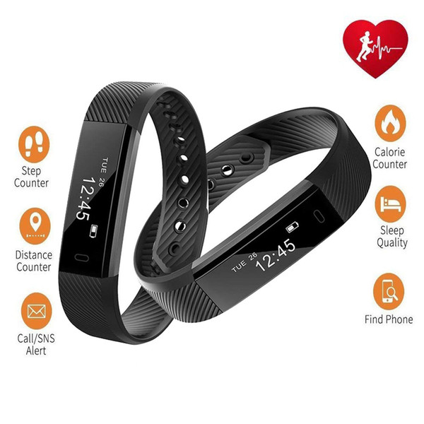 Fitness Tracker Smart Bracelet ID115 Heart Rate Bluetooth Band Activity Monitor Alarm Clock Sports Wristband for iOS Android