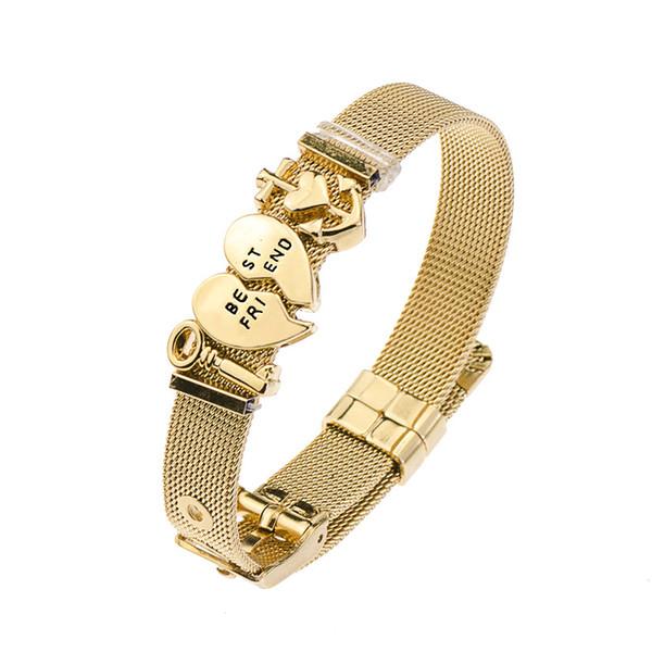 DIY Love Heart Anchor Charms Stainless Steel Keeper Bracelet Women Wrist Decor Adjustable Mesh Belt Bracelets