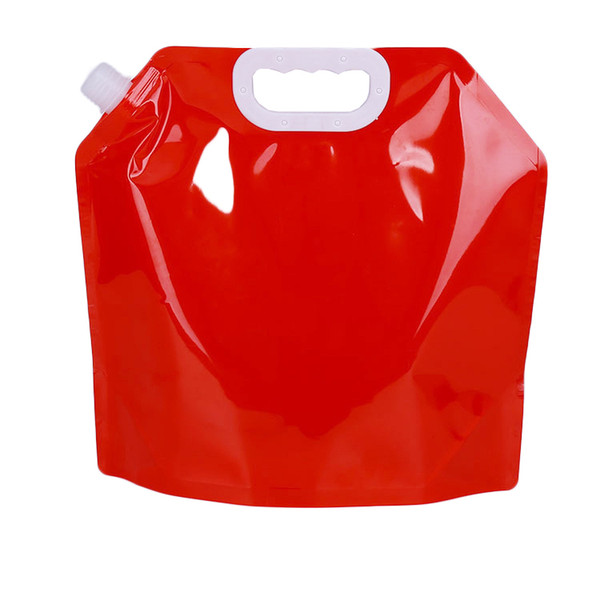 5L clear plastic food grade packaging stand up spout handle outdoor travel 5000ml foldable water pouch 40pcs