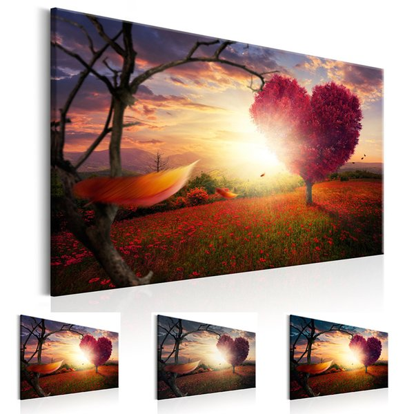 Unframed 1 Panel Large HD Printed Canvas Print Painting Scenery Hearts Tree Home Decoration Wall Pictures for Living Room Wall Art on Canvas