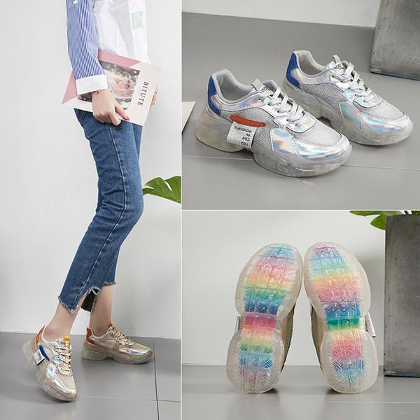 2019 Nouvelle Marque Tendance Printemps Femmes Transparent Baskets Harajuku Dames Plateforme Jelly Shoes Laser Casual Chaussures Brillant Chaussures pour dames