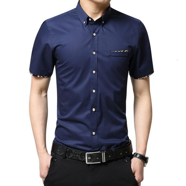 Good Quality Formal Floral Brand Men's Summer Business Dress Shirt Short Sleeves Turn-down Collar Tuxedo Men Shirts Size M-5XL