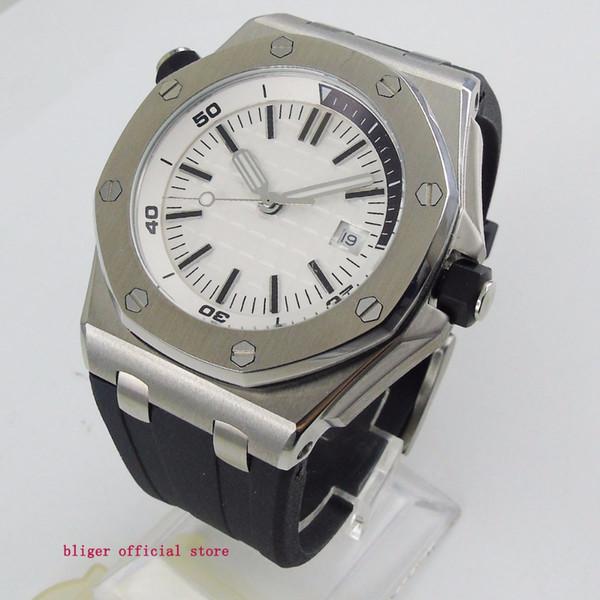 Fashional 43mm Big Face White Dial Men's Watch Date Window Quartz Movement Multifuntion Wristwatch Rubber Strap