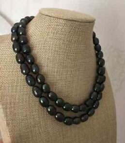 Free shipping 10-11mm tahitian black n baroque pearl necklace 32inch