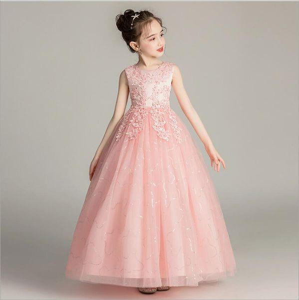 Children Long Wedding Gowns Dresses White Sky Blue Beaded Embroidered Flower Stripe Prom Dress for Teen Girls 3-15 Years Old
