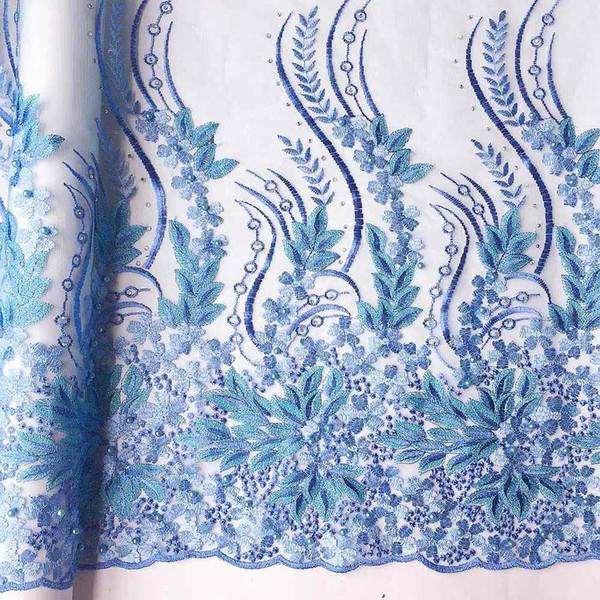 Chantilly Neueste Afrikanische Schnürsenkel 2018 Blau Afrikanisch Französisch Spitze Stoff Hohe Qualität Mit Perlen Teal Nigerian Hochzeit Spitze Stoff