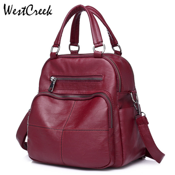 WESTCREEK  Fashion Small PU Leather Backpacks for Girls High Quality Backpack Women Designer Female Casual Ladies Bagpack