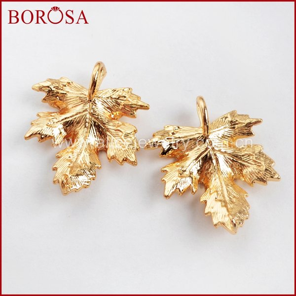 wholesale 50/100PCS Gold Color Brass Carved Maple Leaf Connectors Metal Double Bails Jewelry Findings for Fashion Jewelry PJ107