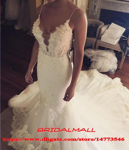 Cintas de espaguete 2019 Appliqued Tulle Vestidos De Noiva Sereia Boho Vestidos De Noiva Sem Encosto Plus Size Vestidos De Novia Praia vestido de noiva