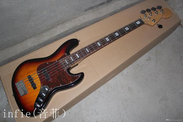Spedizione gratuita di alta qualità F Jazz Bass 5 corde Sunburst tastiera in palissandro Pickup attivi 9V batteria basso elettrico in magazzino