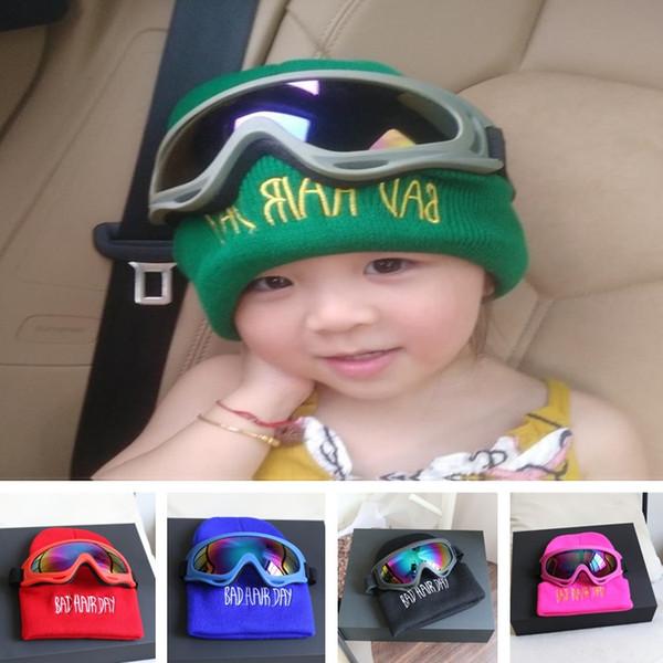 Novos casais chapelaria chapéu de malha modelos pai-filho chapéu fluorescente Harley espelho óculos de lã boné de festa Chapéus T8C002