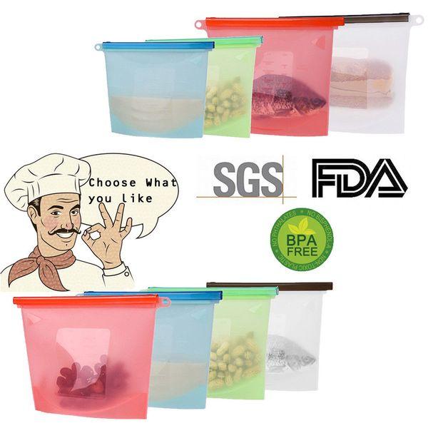 Sacco in silicone riutilizzabile Sacchetti di alimenti freschi Avvolge Alimentare Frigo Conserve alimentari Contenitori per alimenti Sacchi per alimenti Borse a chiusura lampo per cucina