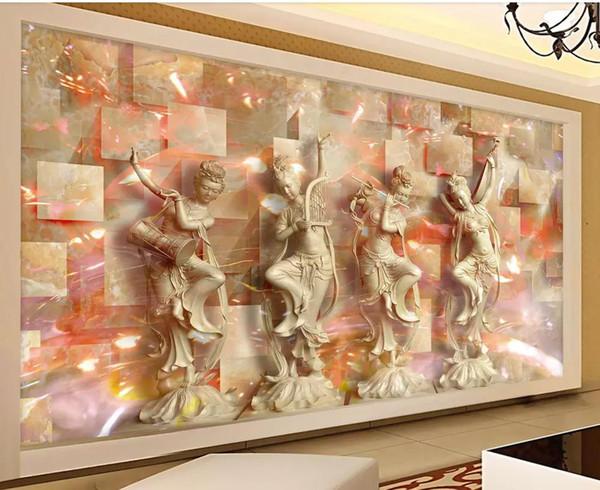 Acheter Classique Quatre Belles Femmes 3D TV Fond Mur Salon Moderne Fonds  D\'écran De $40.21 Du Wallpaper01   DHgate.Com