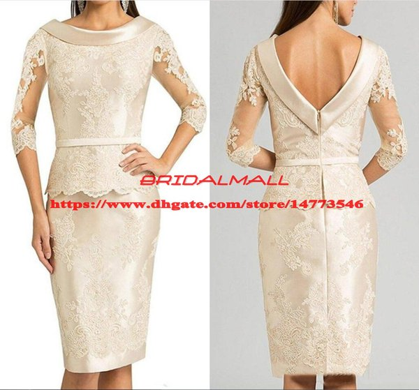 Plus Size 2019 Appliqued Satin Mother of The Bride Dresses 3/4 Long Sleeve Knee Length Formal Evening Gowns Cheap Wedding Guest Party Dress