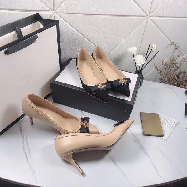 Hot Sale-talons pompe haute avec des chaussures de robe de mode abeille orteil filles pointu femmes luxe Top meilleur noir beige prix