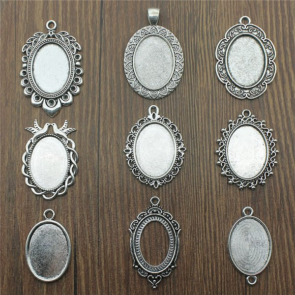 Fit 18x25mm Oval Glass Cabochon Base Setting Antique Silver Color Charms Pendant Base DIY Jewelry Making Handmade Finding