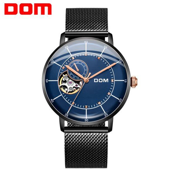 Orologio automatico da uomo DOM Orologio meccanico da uomo Orologio da polso impermeabile in pelle casual moda Top Brand Luxury Relogio Masculino M-8119