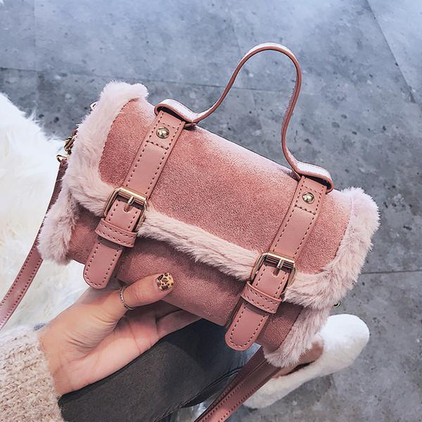 Free shipping, 2019 new fashion woman handbags, simple Korean version women bag, trend wool shoulder bag, retro messenger bags.
