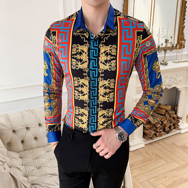 Национальный стиль печать ретро европейского стиля с длинными рукавами рубашка корейских Тонкая ночной тенденцией молодежной мужской личность цветок рубашка