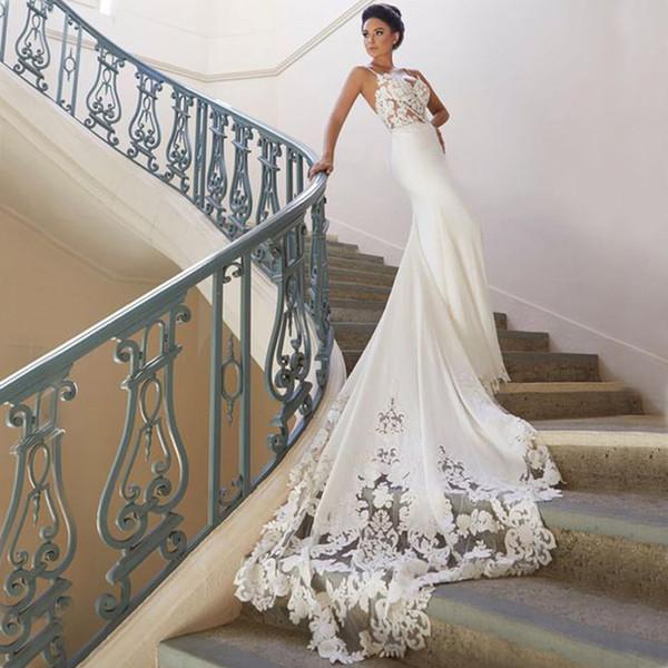 """Свадебное платье """"Русалка на пляже"""" с длинным шлейфом Vestidos de novia Простое кружевное"""
