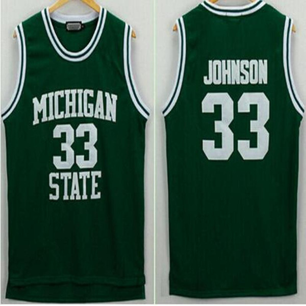 Men's Michigan State Spartans Johnson Jerseys 33 University College Basketball Shirt Green Color White Cheap Best Quality Ncaa College