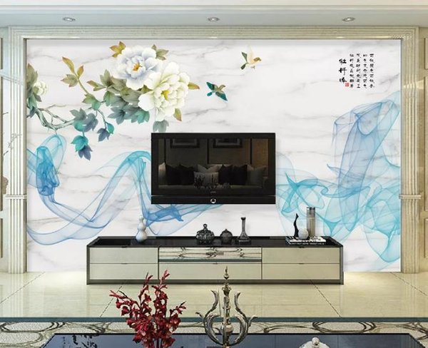 ustom Photo Wall Paper 3D Modern TV Background Living Room Bedroom Abstract flower and bird landscape microcrystall Wall Covering Wallpaper