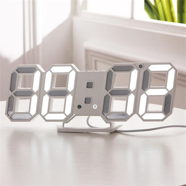 Digital Wall Clock 3D LED Будильник Электронные стол Часы с большим температурным 12/24 Hour Display T200104