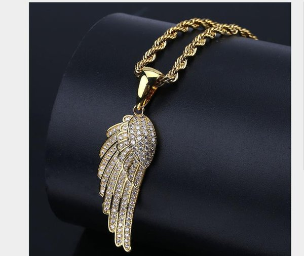 Feather Pendant with zircon-plated gold personality necklace for male hiphop