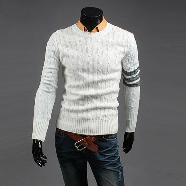 2019 fashion stylist style pullovers men's cotton round collar twist long sleeve casual sweater 3 color size m-2xl