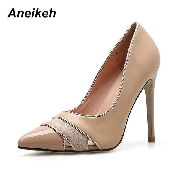 3e206d4691 Vestido Aneikeh 2019 Nueva Moda Bombas Tacones altos Punta estrecha Sexy Mujeres  Zapatos Zapatos de oficina