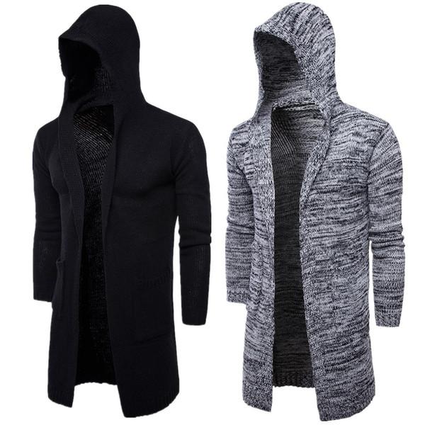 Mens Winter Mit Kapuze Strickjacke Lange Länge Lässige Oberbekleidung Schwarz Grau Mann Mode Kleidung