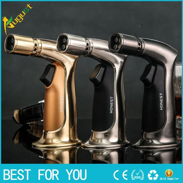 New Hot Honest Genuine Personality Four Gun Windproof Lighters Straight Inflatable Cigar Lighter Ignition Baking Torch Lighter