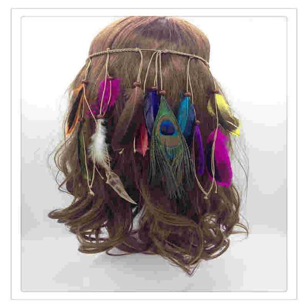 Diadema de plumas indias Borla Cuerda de cáñamo Plumas de pavo real bohemio Diadema para mujeres Niñas Festival Tocado Moda Cool Gift