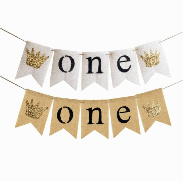 2019 Baby Gril Boy ONE Year Birthday Party Banner 1st Birthday Garland Bunting Baby Shower Party Decoration Party Props