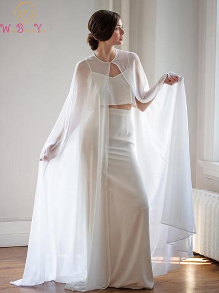 Frauen Bolero Lange Wraps Elegante Weiße Sheer Sommer Formale Abendkleider Cape Chiffon Günstige Mäntel Braut Hochzeit Schals