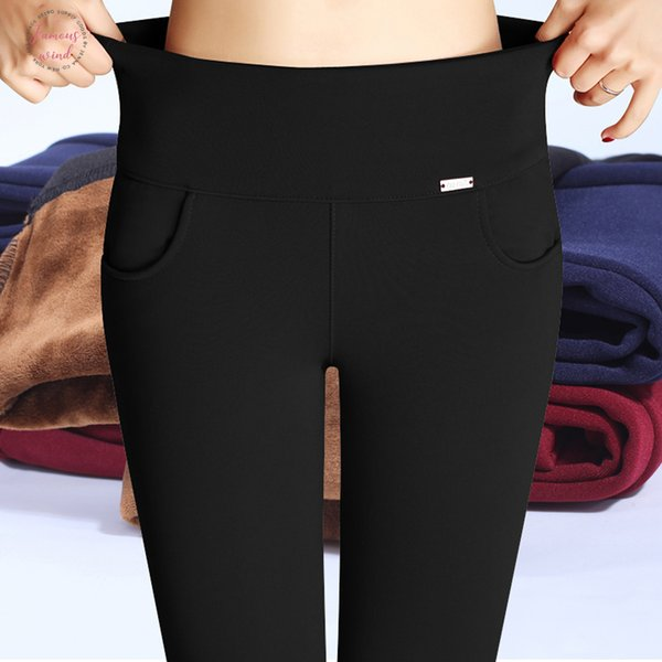 Thick Women Office Winter Pants Warm Fleece High Waist Pencil Pants Stretch Black White Trousers Plus Size Polyester 4Xl Leggings