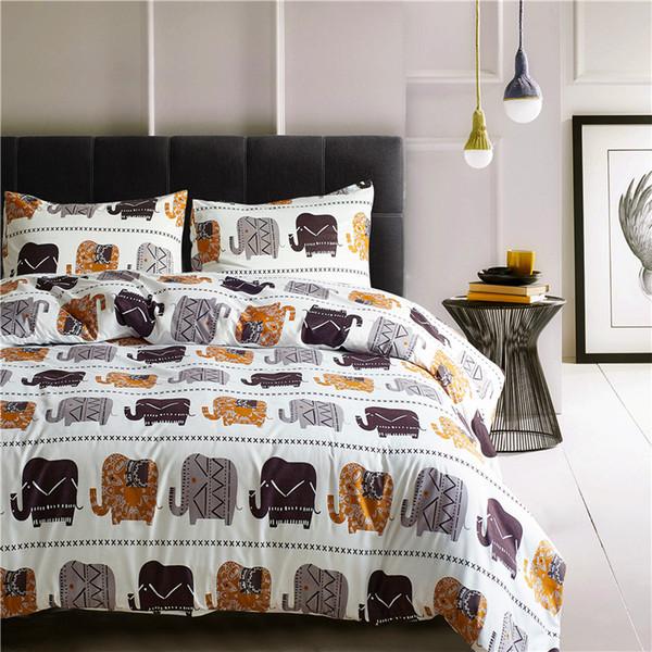 White Elephants Brief King Queen Twin Bettwäsche Bettbezug Gedruckt Bettbezug Bettlaken Kissenbezug 3 STÜCKE Bettwäsche Polyester
