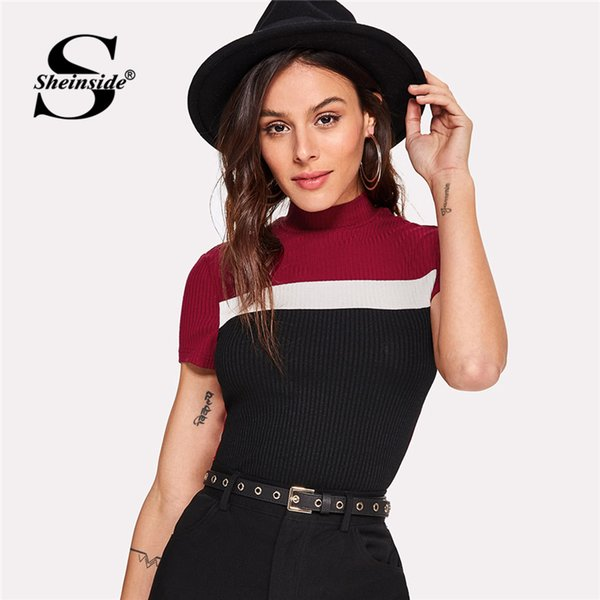 Sheinside Color Block Ribbed Tee Summer Women Stand Collar Slim Fit Elegant T-shirt Office Patchwork Short Sleeve Top Y19042702