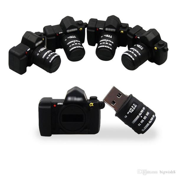 Rapide Mini Bande Dessinée USB 2.0 Clé USB Nouvelle Mode Caméra Pendrive USB Flash 32GB 64GB Stylo Clé De Mariage Photographie Cadeau U Disque